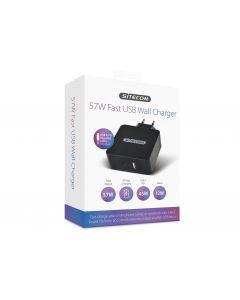 57W Fast USB Wall Charger- 1x USB-C PD + 1x USB-A + 1m Cable